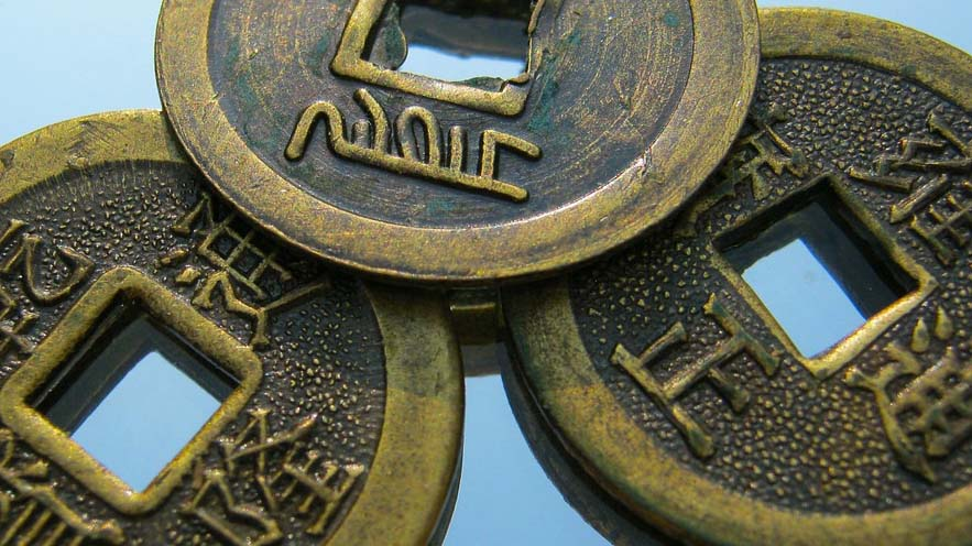 Coins with Chinese characters on them
