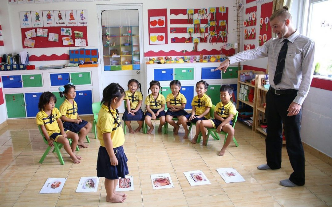 English teacher in China giving a class to children